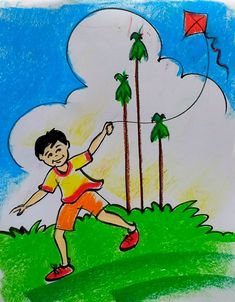 Scenery Drawing For Kids, Easy Drawings For Kids, Art Drawings Sketches Simple, Painting For Kids, Cute Drawings, Art For Kids, Oil Pastel Paintings, Oil Pastel Drawings, Oil Pastel Colours