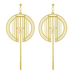Comfort Station  Golden Helias: Incredibly light statement earrings. These intricate patterns of golden lines will warmly lighten any face.