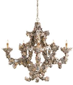 An intricately detailed 5-light chandelier of natural oyster shells - love these!!!
