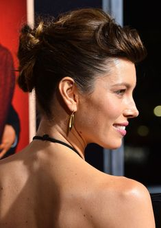Jessica Biel Twisted Bun - Jessica Biel was fabulously coiffed with a twisted bun and pompadour bangs at the premiere of 'Hitchcock.'