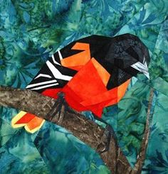 silver linings quilting pattern wee baltimore oriole I want this made into a pillow for my room! Paper Pieced Quilt Patterns, Quilt Block Patterns, Applique Quilts, Vogel Quilt, Bird Quilt Blocks, Landscape Art Quilts, Animal Quilts, Foundation Paper Piecing, English Paper Piecing