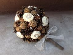Rustic wedding bouquet pine cone country forest fall winter bridal flowers alternative bouquets by MomoRadRose on Etsy https://www.etsy.com/listing/198366205/rustic-wedding-bouquet-pine-cone-country