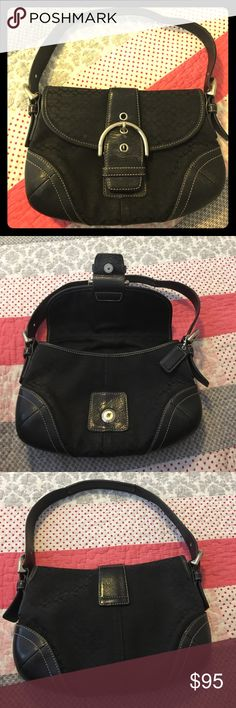 """👛Coach Signature Soho Shoulder bag Signature jacquard and black leather trim. Silver tone hardware. Double compartment inside, plus two media and one zipper pocket. Large buckle detail with magnetic snap-on closure. Pre-loved bag in very good condition. Fabric shows slight dirty marks. Leather in excellent condition. Strap drop is 8.5"""". L 10"""" H 7"""" W 2"""". As always, Bundle for discounts! ❤️💚 Coach Bags Shoulder Bags"""