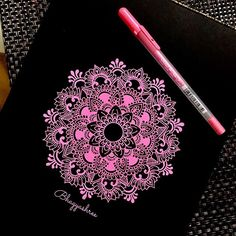 Pretty in Pink Mandala by Tip - draw on black paper with colour fine liner Mandala Doodle, Mandala Art Lesson, Mandala Drawing, Mandala Painting, Dot Painting, Design Mandala, Mandala Pattern, Zentangle Patterns, Zentangles