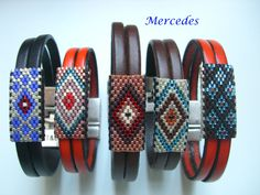 Miyuki & leather bracelets Plus Loom Bracelet Patterns, Bead Loom Patterns, Jewelry Patterns, Bracelet Designs, Peyote Beading, Beadwork, Beaded Earrings, Seed Bead Tutorials, Leather Bracelets