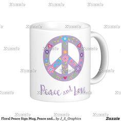 Floral Peace Sign Mug, Peace and Love Coffee Mug