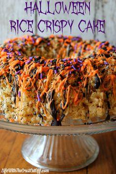 Halloween Rice Crispy Cake Rice crispies make the perfect spooky cake for #Halloween