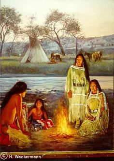 native american paintings Hubert Wackermann | Cheyenne Campfire༺ ♠ ༻*ŦƶȠ*༺ ♠ ༻
