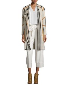 -6EV7 Belstaff Vertical-Striped Jacket W/Leather Trim, Oatmeal Long-Sleeve Ladder-Stitch Silk Blouse, Off White Cropped Tie-Waist Crepe Pants, Bone