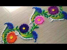How to make easy and simple/unique border rangoli designs by Jyoti Rathod,rangoli,festival rangoli d - mix. Indian Rangoli Designs, Rangoli Designs Latest, Rangoli Designs Flower, Rangoli Border Designs, Colorful Rangoli Designs, Rangoli Designs Images, Flower Rangoli, Beautiful Rangoli Designs, Peacock Rangoli