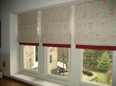 """This classic Vanessa Arbuthnot 'Down to earth' fabric finished with a 2"""" band of coordinating, finished these kitchen roman blinds off beautifully!"""