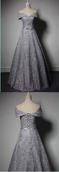 A-Line Lace Prom Dress,Long Prom Dresses,Charming Prom Dresses,Evening Dress Prom Gowns, Formal Women Dress · FlyinDance · Online Store Powered by Storenvy Ball Gowns Evening, Lace Ball Gowns, Evening Dresses, Prom Dresses, Dress Prom, Grey Ball Dresses, Js Prom Gown Style, Pretty Dresses, Beautiful Dresses