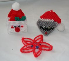 Plastic Canvas For Sale | Vintage Christmas Ornaments / Plastic Canvas Santa Claus, Star, and ...