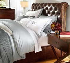 Chesterfield Leather Bed & Headboard | Pottery Barn. Umm, I need to get a part time job here so I can get a discount on this bed!