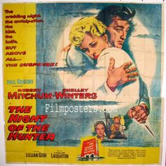 THE NIGHT OF THE HUNTER  (1955)  Original six sheet size, 81x81 movie poster.