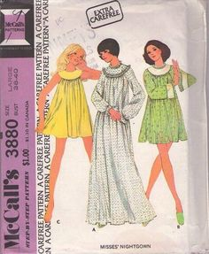 MOMSPatterns Vintage Sewing Patterns - McCall's 3880 Vintage 70's Sewing Pattern FUN Extra Carefree Round Scoop Yoked Full Flared Tent Top, Pajamas Nightgown, Mini or Maxi, Bell Sleeves Size L