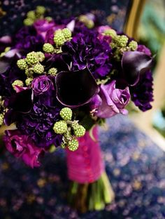 jewel tone with hints of green raspberries . LOVE this bouquet! Except no lilies that would be bad on my wedding day. Purple Wedding Flowers, Floral Wedding, Wedding Colors, Fall Wedding, Beautiful Flowers, Dream Wedding, Beautiful Bouquets, Wedding Blog, Green Flowers