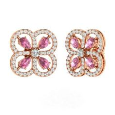 Pear-Cut Pink Sapphire Earrings in 14k Rose Gold with SI Diamond