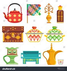 old traditional heritage icons in Arab gulf countries ( United Arab Emirates UAE Saudi Arabia KSA , Qatar Bahrain , Kuwait and Oman ) Ramadan kareem isolated vector illustration - compre este vetor na Shutterstock e encontre outras imagens. Eid Ramadan, Eid Mubark, Ramadan Cards, Ramadan Gifts, Ramadan Sweets, Eid Crafts, Diy And Crafts, Arts And Crafts, Decoraciones Ramadan