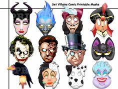 Unique Set Villains Comic Printable Masks paper party photo