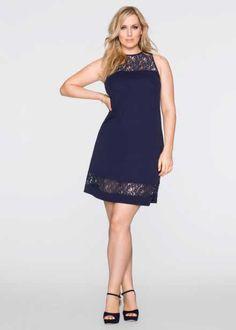 Платье с кружевным декором, BODYFLIRT, темно-синий