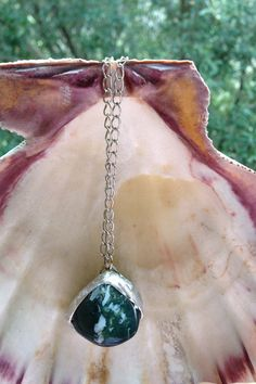 Green Moss Agate Necklace/ Soldered by LustrousLoveJewelry on Etsy