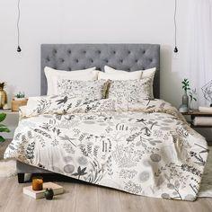 Rosebud Studio Stay In Bed Comforter by Deny Designs, Grey Black Comforter, Queen Comforter Sets, Bedding Sets, Grey Bedroom With Pop Of Color, Thing 1, Home Decor Bedroom, Master Bedroom, Bedroom Ideas, Teen Bedroom