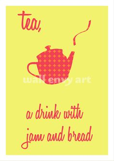 Sound of Music Tea Jam and Bread Bright Yellow Typographic Art Print by Wallenvy Art Digital, Kettering, England, Etsy