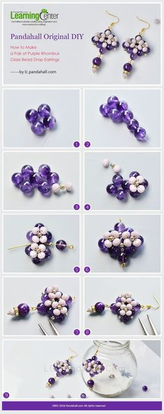 Pandahall Original DIY - How to Make a Pair of Purple Rhombus Glass Bead Drop Earrings from LC.Pandahall.com