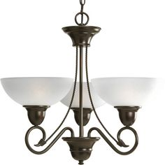 Progress Lighting Pavilion Collection 3-Light Antique Bronze Chandelier Lighting Fixture