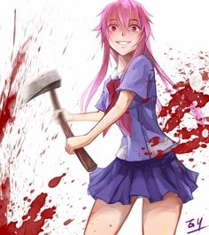 Yuno Gasai, the main female protagonist of the anime Mirai Nikki, or Future Diary as it is known in english, is a 14 year old yandere girl who is in love with the series main character, Yukkiteru Amano, and is prone to acts of violence to protect him and their relationship. she is a future diary owner, and is the second player in deus ex machina's death game, where the victor becomes a god and all other players die.
