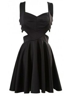 Cut out black skater dress