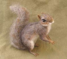 Needle felted grey squirrel woodland animal made to door Ainigmati