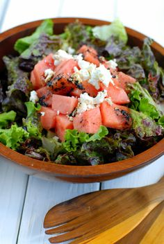 Watermelon Goat Cheese Summer Salad | Obsessed with goats feta