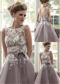 8e3e3da810e4  88.99  Attractive Lace   Organza Bateau Neckline Tea-length A-line  Bridesmaid Dresses With Belt
