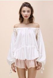 Mellifluous Tone Embroidered Off-shoulder Top