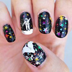 Black Nails With Glitter, Purple Nails, Gradient Nails, Halloween Acrylic Nails, Long Acrylic Nails, Nail Desighns, Chrome Nail Art, Galaxy Nail Art, Space Nails