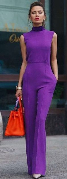 @roressclothes closet ideas #women fashion outfit #clothing style apparel Purple Jumpsuit + Red Bag