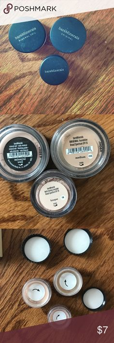 Bare Minerals travel set Mineral Veil, Original Broad Spectrum SPF 15 foundation in Medium, and multitasking concealer SPF 20 in Bisque.   These are not full size. These are a sampler kit. Never opened and new. bareMinerals Makeup