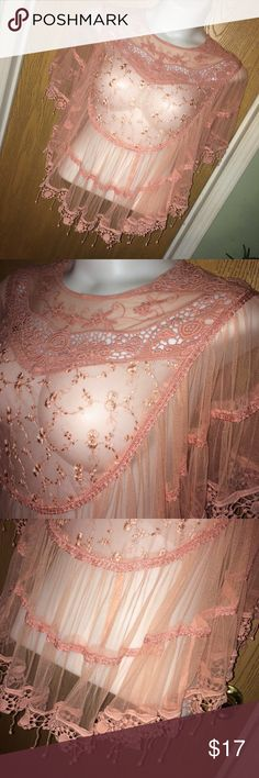 """Dusty Rose lace poncho top Super pretty and feminine dusty rose lace poncho top. Good used condition. Size 3x. 100% polyester. 27"""" total length Mimi Tops"""