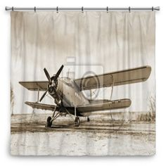 Old Airplane Shower Curtain 70x70 Only At VisionBedding.com