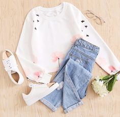 The need-right-now outfit that belongs in your winter wardrobe. shop the sweatshirt in. Could I buy this? Cute Comfy Outfits, Cute Girl Outfits, Teen Fashion Outfits, Mode Outfits, Simple Outfits, Cute Fashion, Outfits For Teens, Pretty Outfits, Stylish Outfits