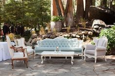 Gorgeous lounge area with creams, grey, and blues.  | Pretty Vintage Rentals -  California weddings
