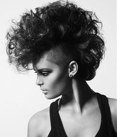 long black curly shaved sides Mohican's Womens Black hairstyles for women