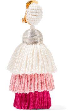 Tiered Tasseled Beaded Clip Earrings - Pink Oscar De La Renta Big Sale Sale Online Store For Sale Buy Authentic Online Lg6ck