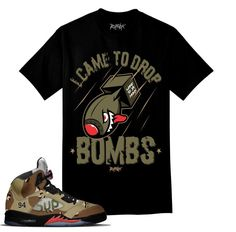 Jordan 5 Supreme Camo Shirt - Drop Bombs - Black