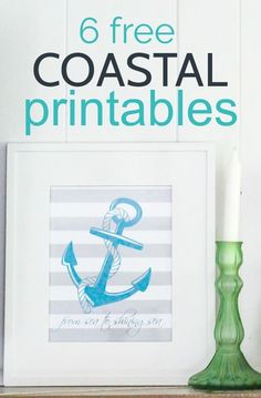 6 different designs of free anchor printables with beautiful coastal blues, grays, and greens From sea to shining sea patriotic printables perfect for Memorial Day or the fourth of July. Printable Calendar Template, Templates Printable Free, Free Printables, Free Printable Quotes, Printable Wall Art, Anchor Pictures, Beach Crafts, Diy Crafts, Kids Calendar
