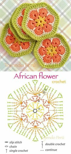 We always come back to the African Flower because it's so awesome! Found via the Spanish blog Tejiendo Peru, this…