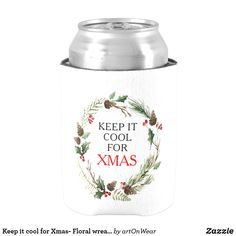 Shop Keep it cool for Xmas- Floral wreath frame Can Cooler created by artOnWear. Personalize it with photos & text or purchase as is! Watercolor Flower Wreath, Wedding Koozies, Keep Cool, Frame Wreath, Polyurethane Foam, Christmas Card Holders, Hand Warmers, Keep It Cleaner, Holiday Cards