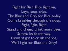 Rice University Owls - fight song with words - Rice Fight Song
